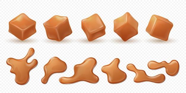 Caramel réaliste. éclaboussures de caramel 3d, gouttes et gouttes de confiserie isolée.