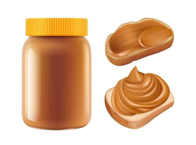 Caramel réaliste. pot de caramel et sandwichs isolés sur fond blanc. petit déjeuner sucré