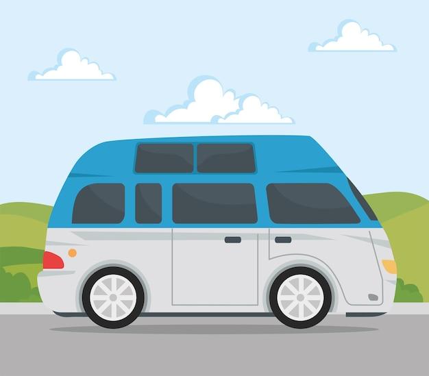 Caravane bleue et blanche