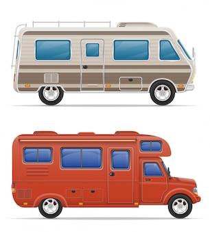Caravane caravane camping car avec accessoires de plage