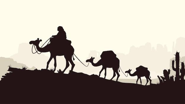 Caravane de chameaux style silhouettes sur lumineux
