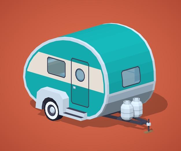 Caravane isométrique 3d rétro turquoise