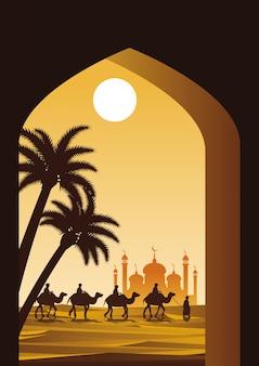 Caravane musulmane monter chameau à la mosquée
