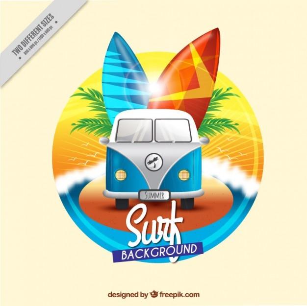 Caravane vintage surfer fond