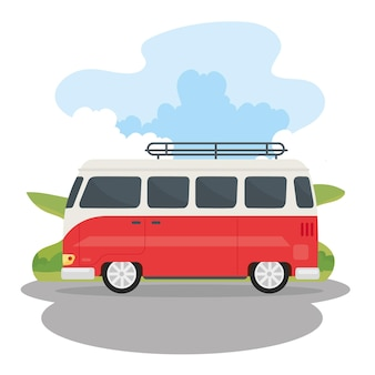 Caravane de voyage rouge et blanche