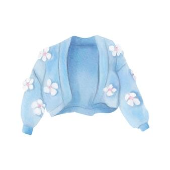 Cardigan en tricot aquarelle avec des fleurs