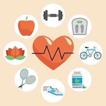 Cardio cardiaque avec ensemble de huit éléments de mode de vie sain mis en illustration