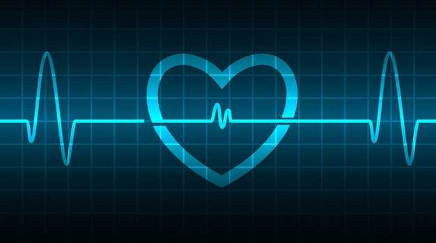Cardiofréquencemètre blue heart avec signal. battement de coeur. ekg icon wave