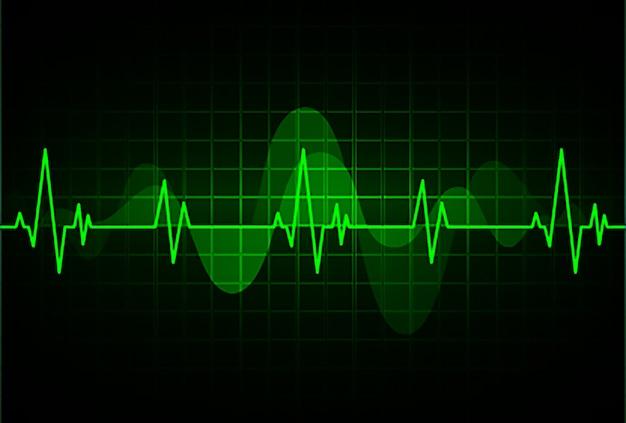 Cardiofréquencemètre vert avec signal. battement de coeur. ekg icon wave