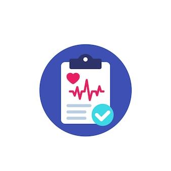 Cardiogramme, rapport de diagnostic cardiaque, icône plate vectorielle