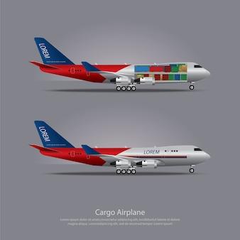 Cargo, avion, isolé, vecteur, illustration