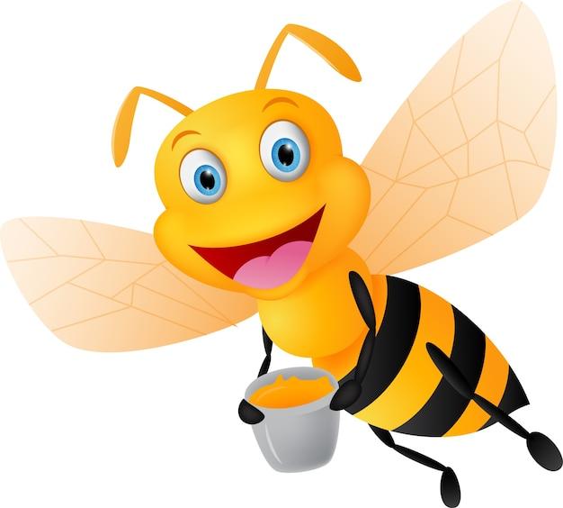Caricature d'abeille heureuse avec du miel