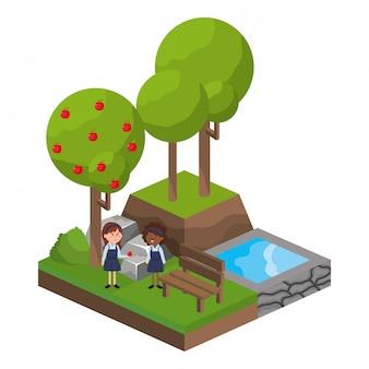 Caricature d'activité de parc isométrique