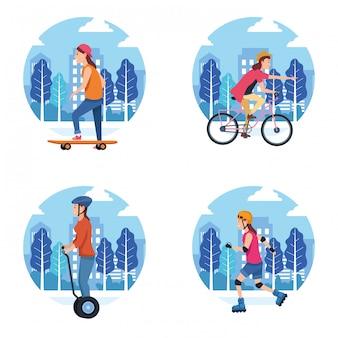 Caricature d'activité sportive sportive en plein air