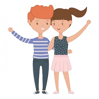 Caricature d'adolescent garçon et fille