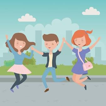 Caricature d'adolescent garçon et filles