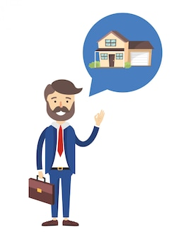 Caricature d'agent immobilier
