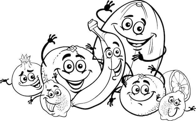 Caricature d'agrumes pour cahier de coloriage