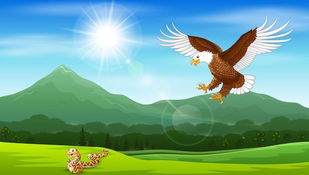 Caricature d'aigle sautant sur des serpents