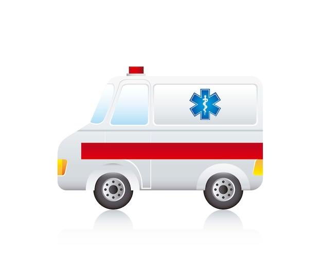 Caricature d'ambulance avec une ombre sur le vecteur de fond blanc