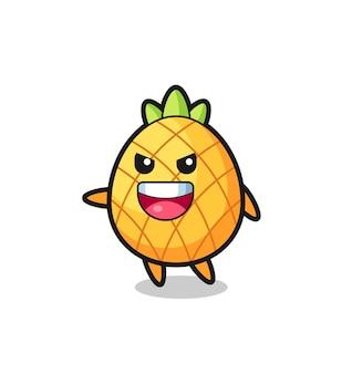 Caricature d'ananas avec pose très excitée, design de style mignon pour t-shirt, autocollant, élément de logo