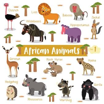 Caricature animale africaine avec des noms d'animaux