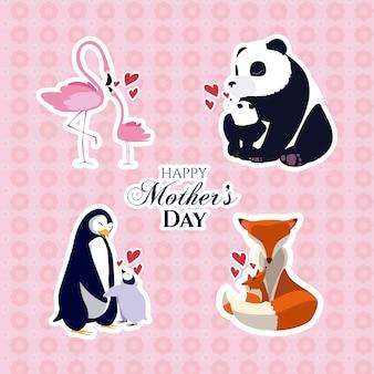 Caricature d'animaux heureux jour de mères