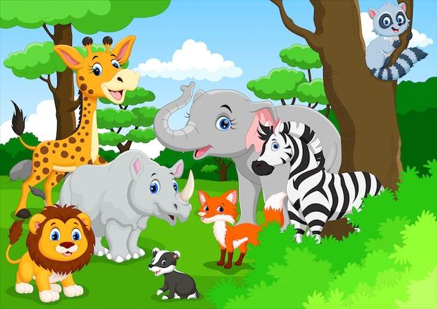 Caricature d'animaux mignons dans la jungle