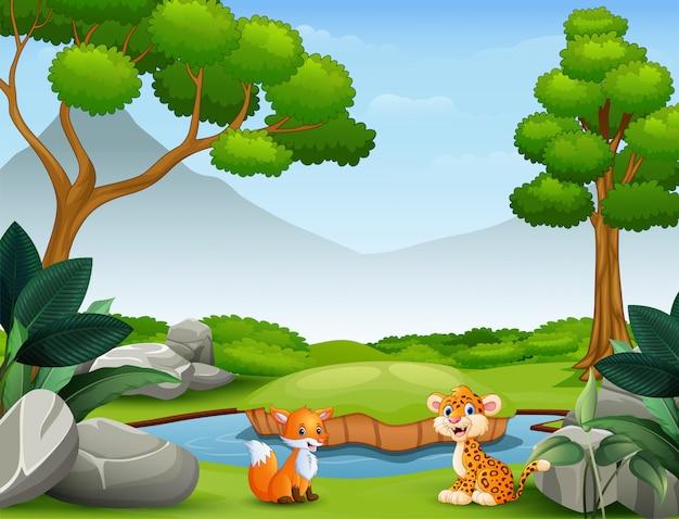 Caricature d'animaux vivant dans la nature sauvage