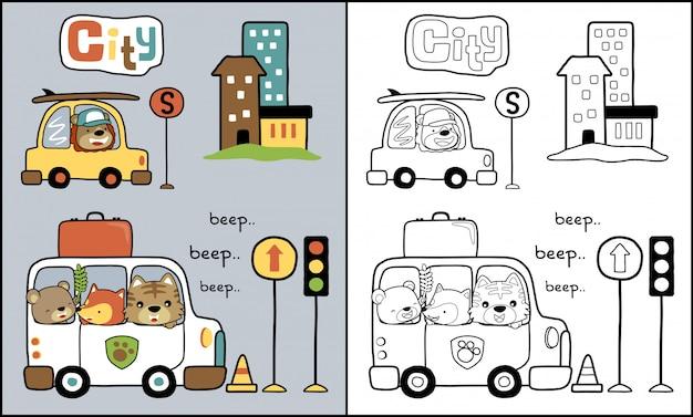 Caricature d'animaux sur la voiture dans le trafic de la ville