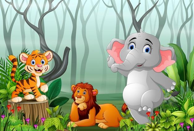 Caricature d'animaux avec vue sur la forêt dans le brouillard