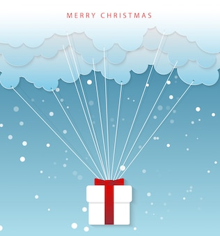 Caricature d'art en papier des mains du père noël avec nuage. joyeux noël et bonne année illustration vectorielle.