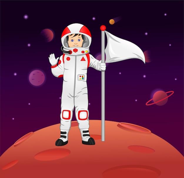 La caricature de l'astronaute arrive sur la planète mars