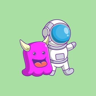 Caricature d'astronaute avec des monstres mignons
