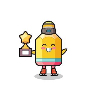Caricature au crayon en tant que joueur de patinage sur glace tenant le trophée du vainqueur, design de style mignon pour t-shirt, autocollant, élément de logo