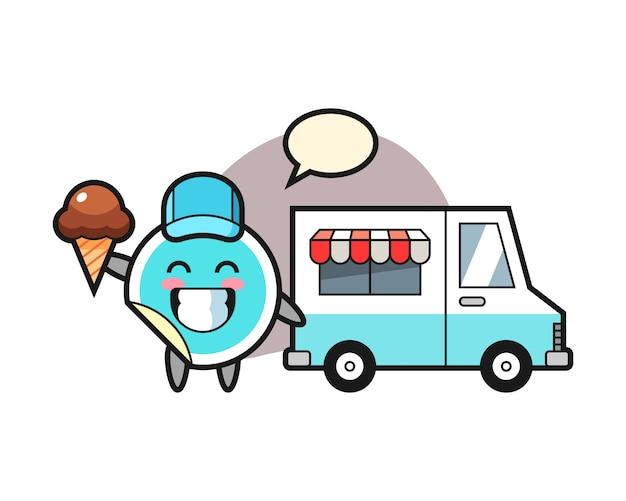 Caricature d'autocollant avec camion de crème glacée