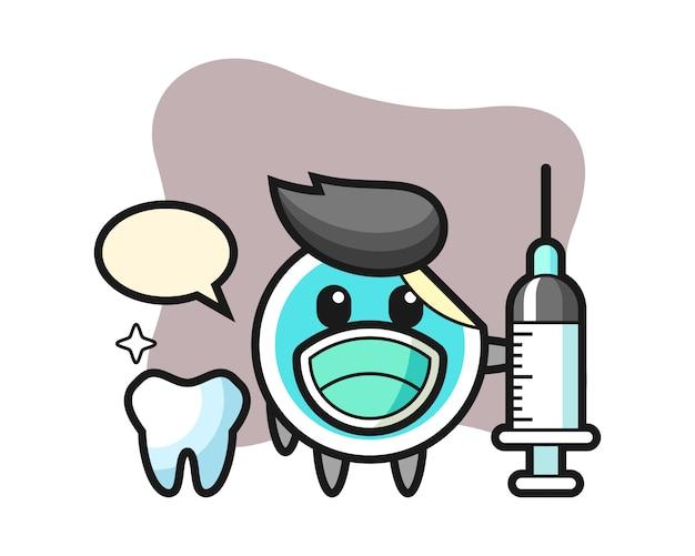 Caricature d'autocollant en tant que dentiste
