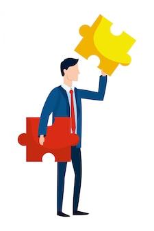 Caricature d'avatar homme d'affaires prospère