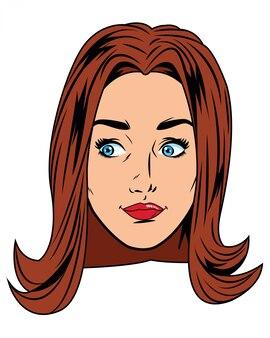 Caricature d'avatar visage jeune femme