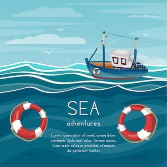 Caricature d'aventure en mer avec remorqueur