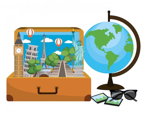 Caricature de bagages de voyage
