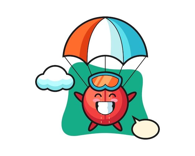 Caricature de balle de cricket fait du parachutisme avec un geste heureux