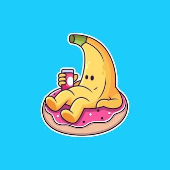 Caricature de banane se détendre sur un beignet avec une pose mignonne