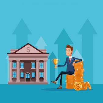 Caricature de banquier homme d'affaires