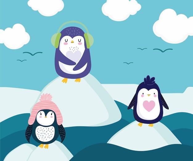 Caricature de banquise debout pingouins