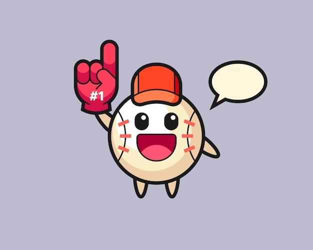 Caricature de baseball avec un gant de fans numéro 1