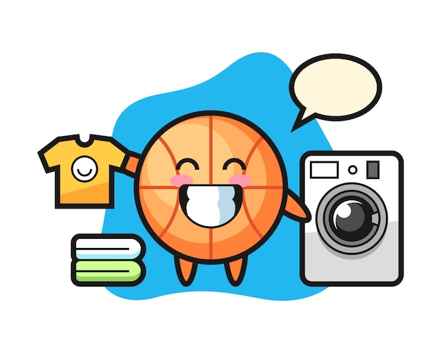 Caricature de basket-ball avec machine à laver