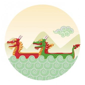 Caricature de bateau dragon