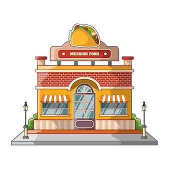 Caricature de bâtiment de cuisine mexicaine