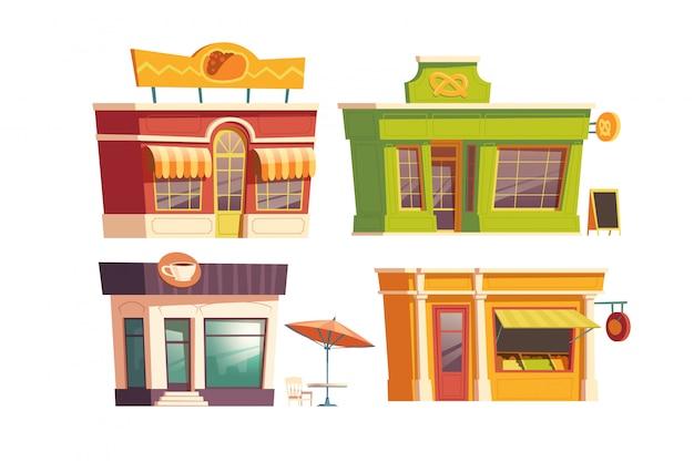 Caricature de bâtiment de restaurant de restauration rapide